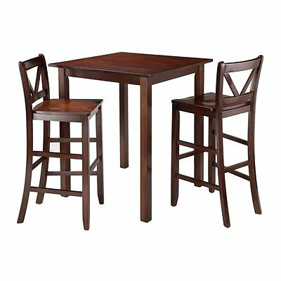 Winsome Wood 94348 Parkland 3-Piece High Table with 2 V-Back Bar Stools