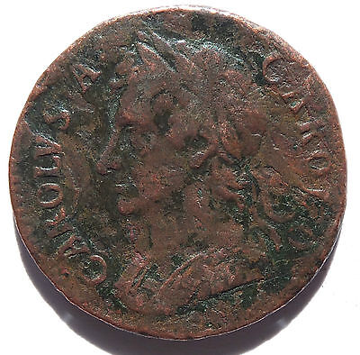 Charles Ii Farthing Coin  Good Portrait (3790)