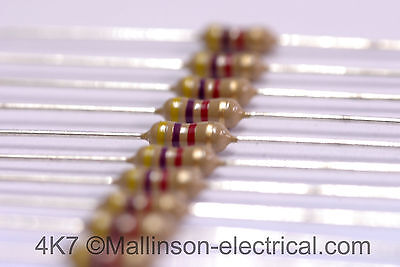 4700 ohm (4K7) 5%  0.25W Resistor (Yellow,Violet,Red, Gold) x10 x100 x 500 x1000
