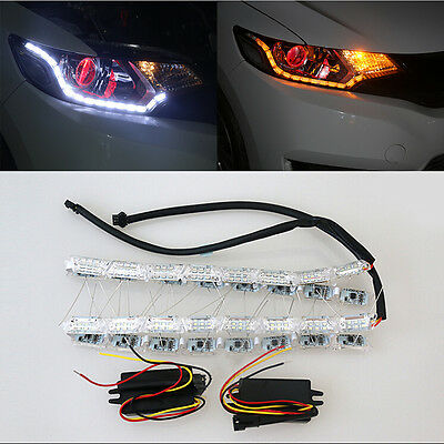 White Yellow Flexible Day Running DRL Lights Turn Signals Lamp w/Indicator Flash