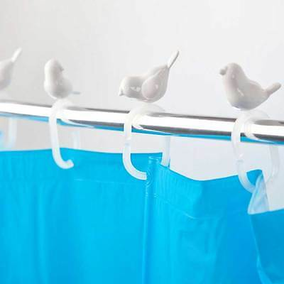 Peeking Birds Shower Curtain Hooks for Track Rail in White Cute Bath Sparrow