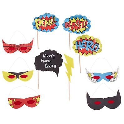 8pcs Comic Book Superhero Photo Booth Props and Masks Birthday Party