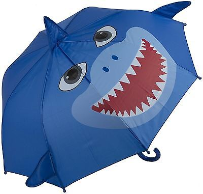 My Doodles Small Child's Character Durable Novelty Kids Umbrella - Blue Shark