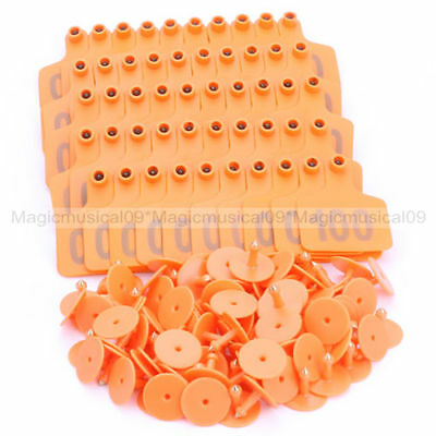 Cow Cattle Number Large Livestock Ear Tag With Orange Color Pack Of 100