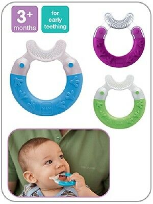 MAM Bite & Brush Baby Teether Teething Ring Soother Toy, Babys' 1st Toothbrush