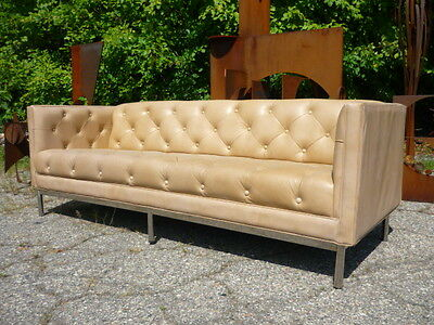 70's Tufted Tuxedo Chrome Base Leather Sofa Mid Century Modern Baughman Era