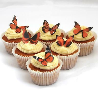 Cakeshop PRECUT 12 Orange Edible Butterfly Cake Cupcake Toppers Decorations