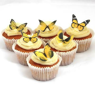 Cakeshop PRECUT 12 Yellow Edible Butterfly Cake Cupcake Toppers Decorations