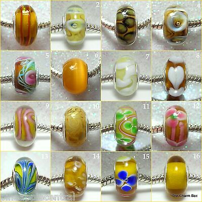 'SHADES OF YELLOW' -1 X Silver Plated Yellow/Amber Murano Glass European Bead