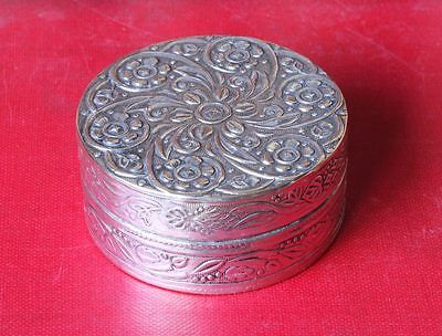 Antique Silver Plated Pill Trinket Box. Chinese Swirl Flower Decoration. c1900