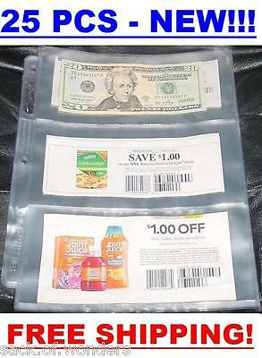 3 POCKETS Coupon Sleeves Pages Currency size 25/set NEW - Bill Money Holders