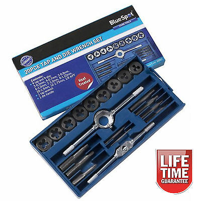 20 Piece Tap and Die Tool Set Metric Thread Renewing Restoring Threading Wrench