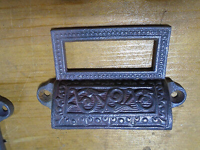 VINTAGE CAST IRON EASTLAKE BIN PULL w/LABEL FRAME -  VERY  NICE  (4000-337)