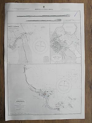 1882 Port Of Vera Cruz Tampico Harbour Aprroaches Vintage Admiralty Chart Map