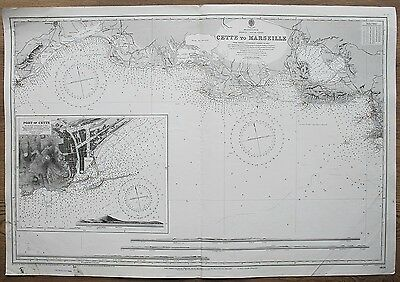 1894 France Cette To Marseille South Coast Vintage Admiralty Chart Map