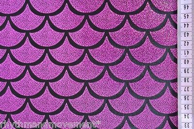 Dance Costume Lycra Fabric Silver Black Fishscale Mermaid sold by the 1//2 metre
