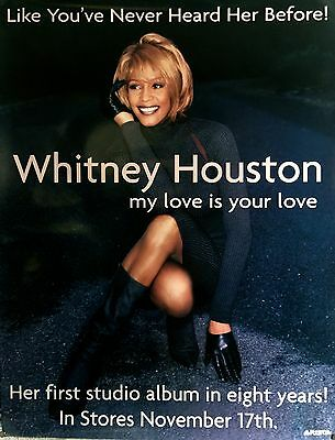 """Whitney Houston My Love Is Your Love Original 1998 Poster 47"""" X 36"""""""