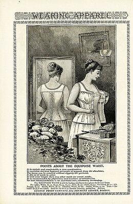 CORSET AD - 1894 - EQUIPOISE WAIST - Victorian Woman Putting on Corset