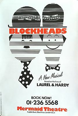 "Laurel And Hardy Blockheads Original London Theatre Poster 30"" X 20"""