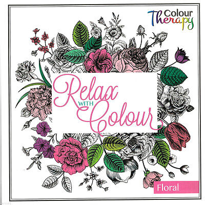 Adult Colouring Therapy Anti-Stress Adult Colouring Book Relax Green Pink Rose