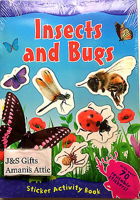 Kids Fun Facts Activity Book Insects and Bugs 70 + Reusable Stickers r.r.p £4.99