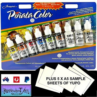 Jacquard PINATA - Alcohol Inks - Exciter Pack of 9 Small Bottles + FREE YUPO