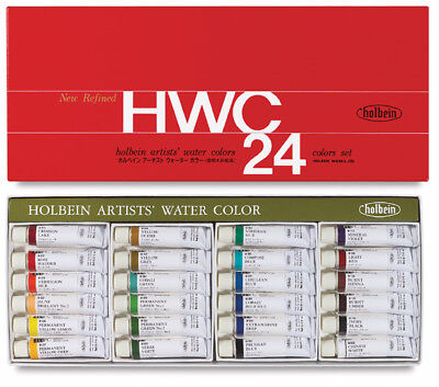 Holbein Artists' Watercolors - High Quality, Brilliant Hues - 24 x 5ml Tube Set