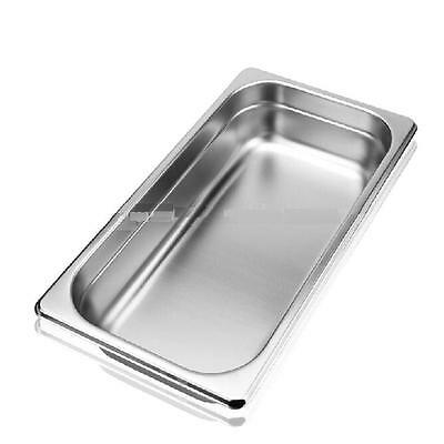 6 x Third Size 1/3 65mm Bain Marie Gastronorm GN Pan Tray Stainless Steel