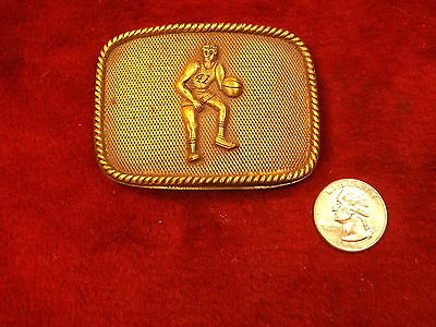 "Nice Vtg Solid Brass #41 Basketball Belt Buckle By ""Butler Sports Enterprises"""