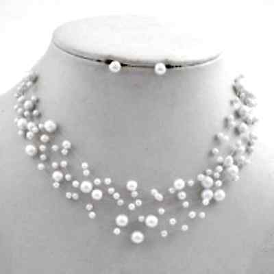 White Faux Pearl Floating Illusion Bridesmaid Bridal Necklace Earrings Set