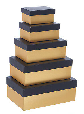 Black & Gold Gift Boxes -Nest of 5 Rect Boxes - Luxury Packaging GBA991 Birthday