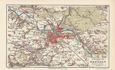1894 DRESDEN Umgebung Original alter Stadtplan Landkarte Karte Antique City Map