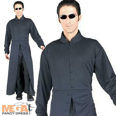 Neo The Matrix Mens Fancy Dress Movie Outfit Halloween Adult Costume + Glasses