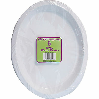 6 x WHITE PLASTIC PLATE OVAL 26cm SERVING TABLEWARE PARTY BIRTHDAY DISPOSABLE