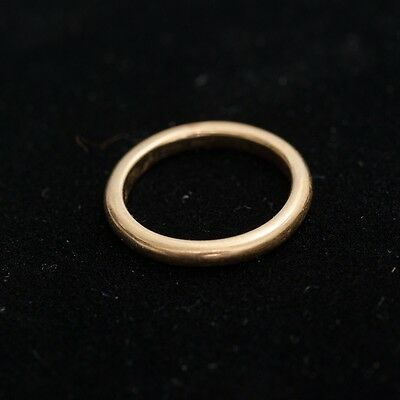 Antique Estate 18k Yellow Gold Ring Size 5.25 Rounded Band 2mm Thick 3.5 grams