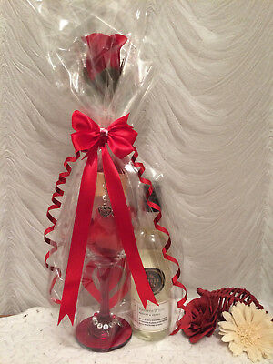 Wine Glass Gift Set - Chocolates Soaps Flower Coaster Gift Wrapped