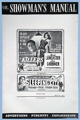Vtg - The Killers And Sleeping City - 2 In 1 Universal Int'l Pressbook - 1956