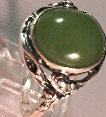 HEART CHAKRA Jade ringSTERLING SILVERsizes 5;6.5;7.25; 8.5,MADE IN POLAND15x17mm