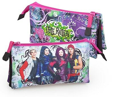 Disney Descendants Pencil Case 3 Multi Compartments Girls Kids School Stationary