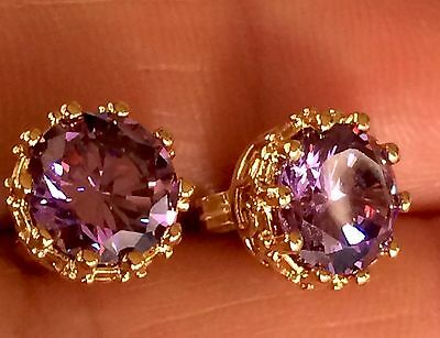 Antique Rose Gold Filled  Purple Alexandrite Stones  Small Pierce Round Earrings