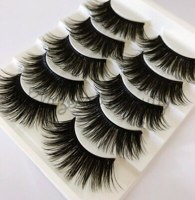 5 Pairs Long Natural Thick Handmade Makeup Fake False Eyelashes Eye Lashes UK