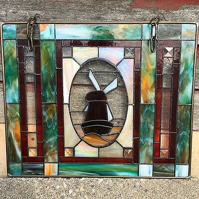 "Antique Handmade Slag Stained Glass Windmill Hanging Leaded Window 19"" x 16"""