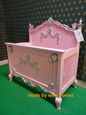 BESPOKE kids cot bed with mattress French Baroque Rococo hand carved mahogany