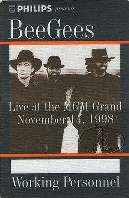BEE GEES 1997 Backstage Pass Las Vegas MGM Robin Maurice Barry Gibb