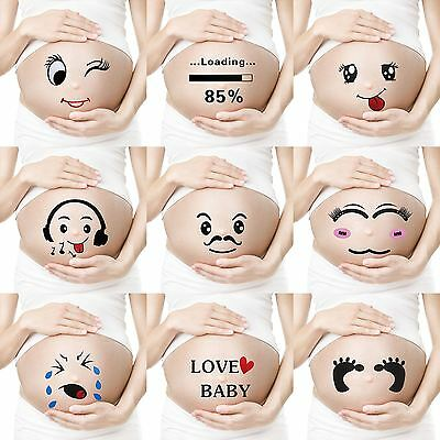 Pregnancy Photobooth Props Belly Stickers Tattoos Body Art Photoshoot Prop