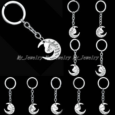 Family Name Mom Daughter Sister Fashion Moon & Heart Key Ring Chain Keyring Gift