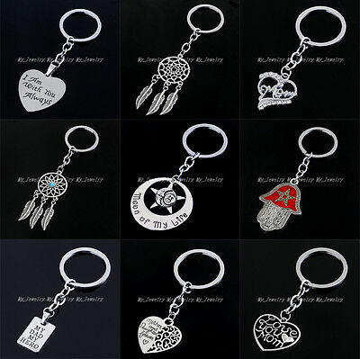 Pendant Keyring Fashion Heart Dad Mom Movie Model Charm Keychain Key Ring Chain