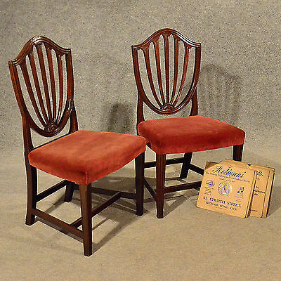 Antique Pair Wide Side Dining Shield Chairs English Georgian Hepplewhite c1800