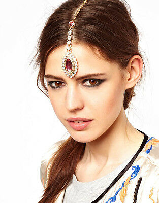 Indian Style Gold Water Pink Crystal Drop Gem Pendent Dangle Hairpin Jewelry