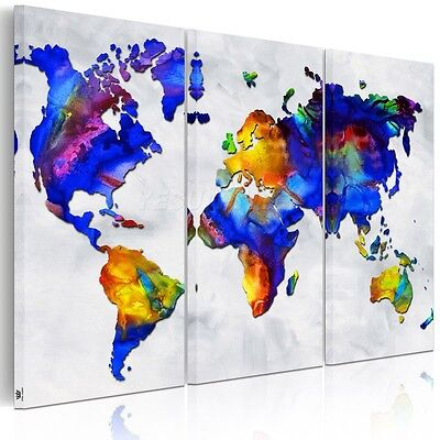 Abstract Colorful World Map HD Canvas Print Split Wall Art Picture Unframed